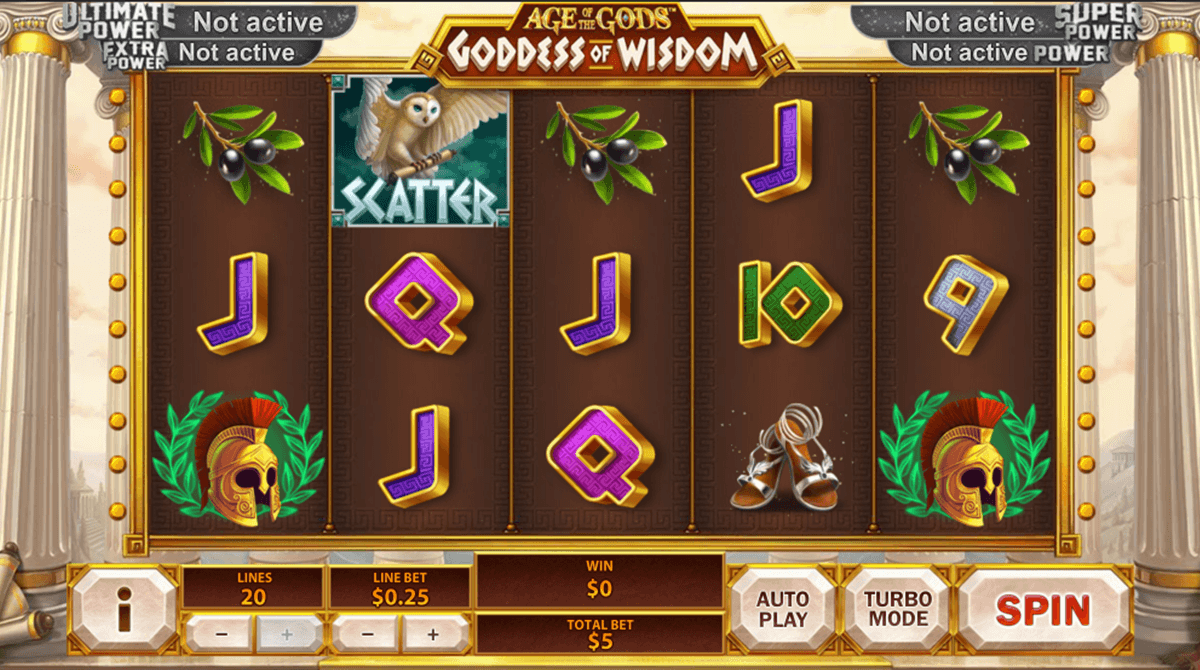age of the gods goddess of wisdom playtech
