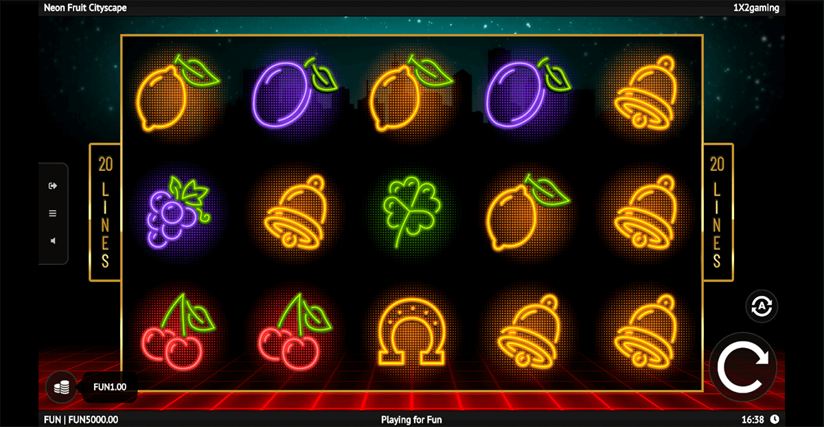 neon fruit cityscape 1x2gaming