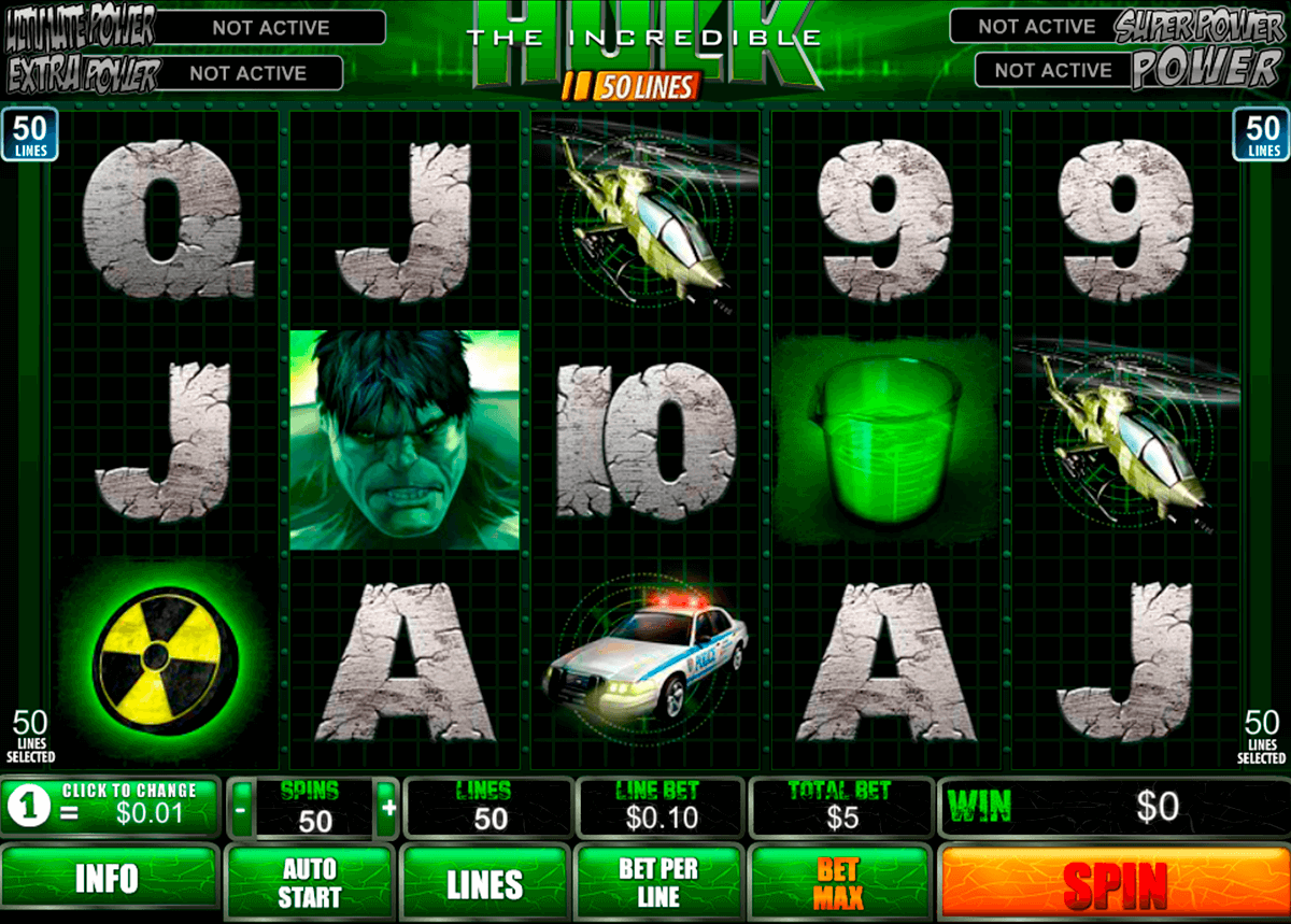 the incredible hulk 50 lines playtech